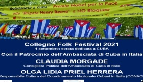 La nostra responsabile esteri al Collegno Folk Festival, caldeggiando il premio Nobel alla Brigata Henry Reeve